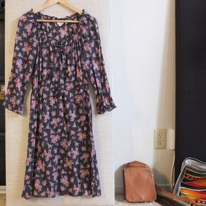H&M Floral Peasant 3/4 Sleeve Midi Dress Size 6
